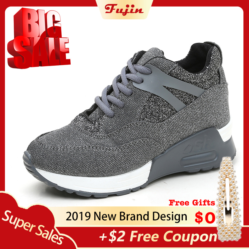 Wedge Sneakers Shoes Female Casual-Shoes Reflective-Cloth Summer Women Luxury Fujin Increased