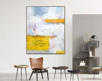 Abstract Painting Original Large Acrylic Canvas Wall Art Expressionism Yellow Modern Painting Wall Art On Canvas Yellow Echo