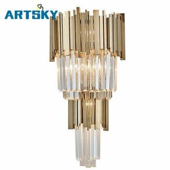 Современный блестящий хрустальный светодиодный настенный светильник, Золотой металлический светодиодный настенный светильник для спальн...