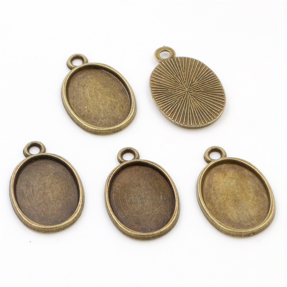 10pcs 13x18mm Inner Size Bronze Cameo Cabochon Base Setting Charms Pendant Necklace Findings  (D4-11)