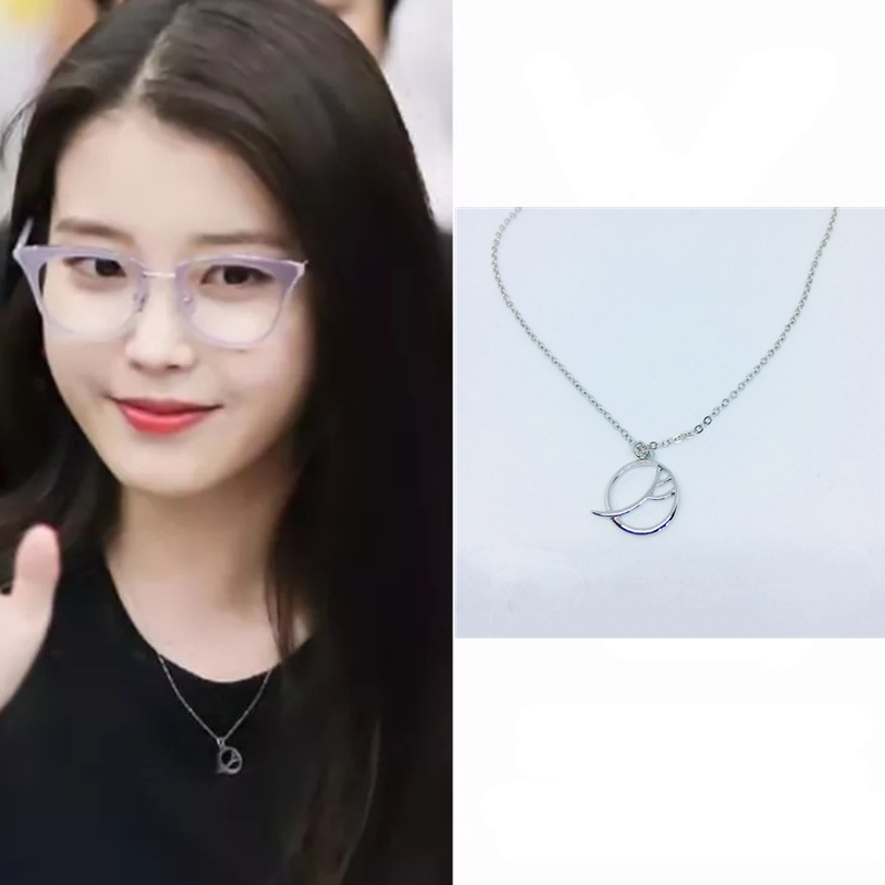 IU Same Del Luna Hotel Drama Round Lee Ji Eun Moon Necklace Chain Jewelry Valentine's Day Gift