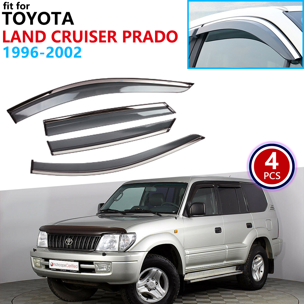 for Toyota Land Cruiser Prado Merú 90 J90 1996 2002 Window Visor Vent Awnings Rain Guard Deflector Shelters Car Accessories 1997|Car Stickers| |  - title=