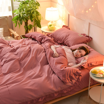 Elegant Knitted Cotton Princess Style Lattice Printed Duvet Cover Sets Bedclothes Soft Warm Comfor Anti-Pilling Bedding Sets