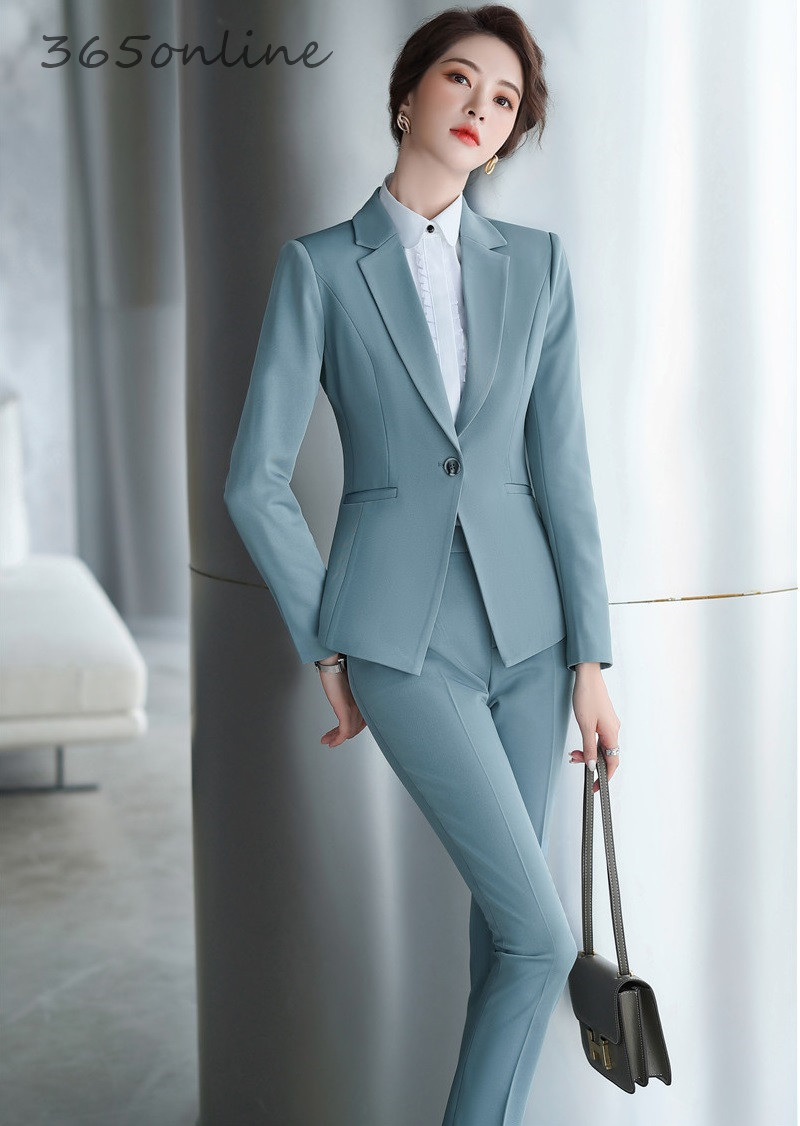 Newest Spring Autumn OL Styles Women Business Suits With 2 Piece Set Pants And Jackets Coat Ladies Office Professional Blazers
