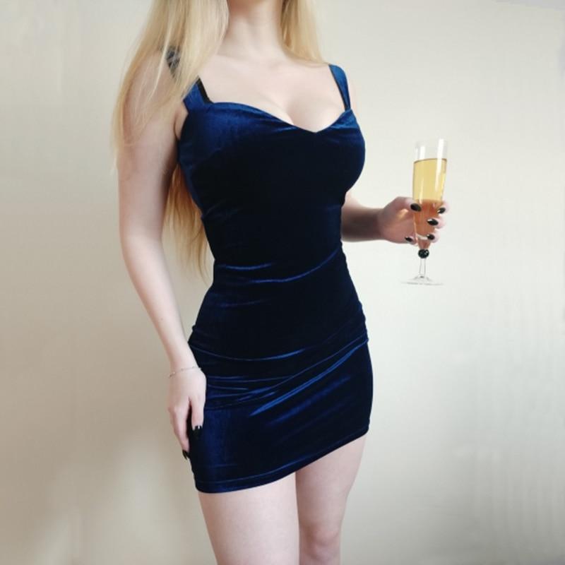 Neck Spaghetti Straps Party Mini Dress Backless Summer Sleeveless Bodycon Short Dress Blue Sexy V