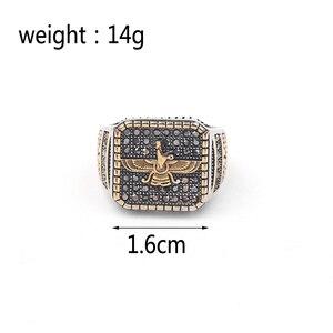 Image 2 - בציר דתי טבעת האיסלאם איראן Faravahar Ahura מאזדה טבעות זהב צבע הזורואסטרית טבעת גברים זכר היפ הופ תכשיטי מתנות
