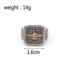 Image 2 - Vintage Religious Ring Islam Iran Faravahar Ahura Mazda Rings Gold Color Zoroastrian Ring Men Male Hip hop Jewelry Gifts