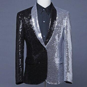 Male singer hosted suit half black half silver sequined suit fashion asymmetrical coat hair stylist green fruit collar Blazer