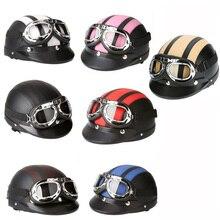 цена на Adult Helmets Motorcycle Retro Half Cruise Helmet Motorcycle Scooter Helmet For Harley Vintage GERMAN Motorcycle Moto goggle