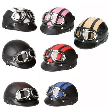 Adult Helmets Motorcycle Retro Half Cruise Helmet Scooter For Harley Vintage GERMAN Moto goggle