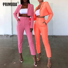 Autumn Women Office Lady Short Blazer Sets Slim Long Sleeve Blazer and Long Pants Suits Formal Party Elegant Suit Outwear PR605G