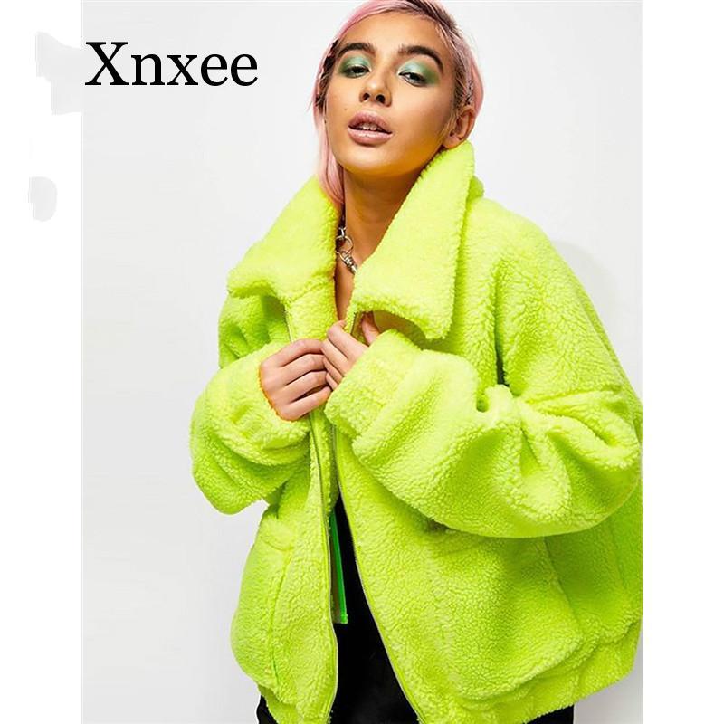Neon Green Oversized Teddy Coat Woman Streetwear Zip Pocket Lamb Fleece Fluffy Faux Fur Jacket Winter Green Tendy Coat Winter