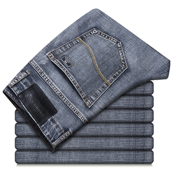 Men's Slim Straight Denim Thin Jeans Classic Brand Embroidery 2021 Spring/Summer Cotton Stretch Lightweight Casual Jeans Gray 1