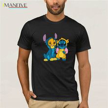 IMANFIVE Brand Simba And Stitch Best Friend T-Shirt Mens Short Sleeve  Casual Cotton