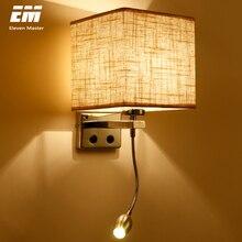 Manguera de plomería para lámparas de pared, lámpara de pared moderna con cabezal de mesita de noche, 1/2, 3W, brazo basculante, iluminación de pared, tela ZBD0014, 5 colores