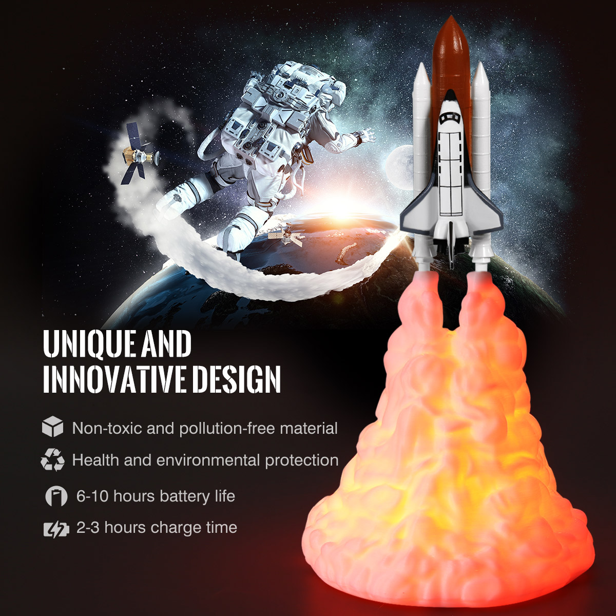 Space Shuttle Rocket Moon Lamp -Storefyi.com