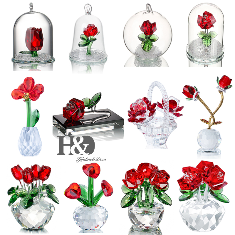 H&D Crystal Red Rose Figurines Bouquet Flowers Collectible Art Glass Craft Home Wedding Decor Ornament Christmas Gift  Souvenir