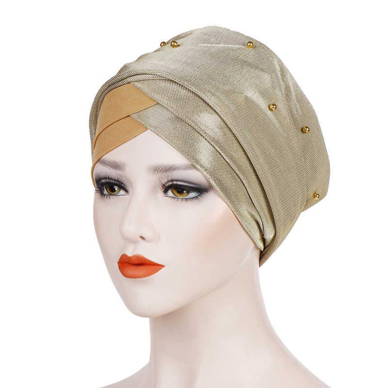 Moslim Vrouwen Kralen Hijab Elastische Tulband Hoed Chemo Kanker Cap Arabische Hoofddoek Wrap Hoofddoek Islamitische Bandana Haaraccessoires