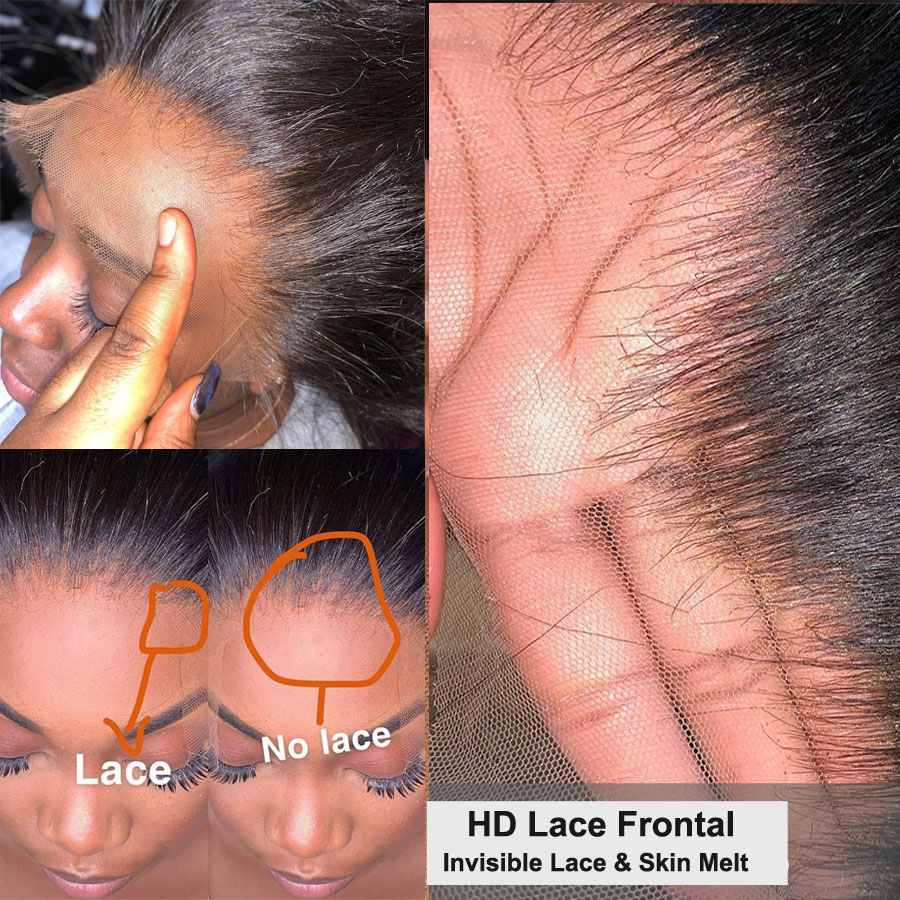 HD Lace Frontals Pre Plucked Ear To Ear 13X4 HD Lace Frontal Closures Transparent Lace Frontals Brazilian Straight HairInvisible