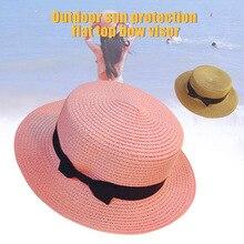 High Straw Sunhat Women Summer Beach Wide Brim Bow Sunscreen Outdoor Travel Hat Cap DOG88 chic bowknot band irregular brim outdoor sunscreen straw hat for women