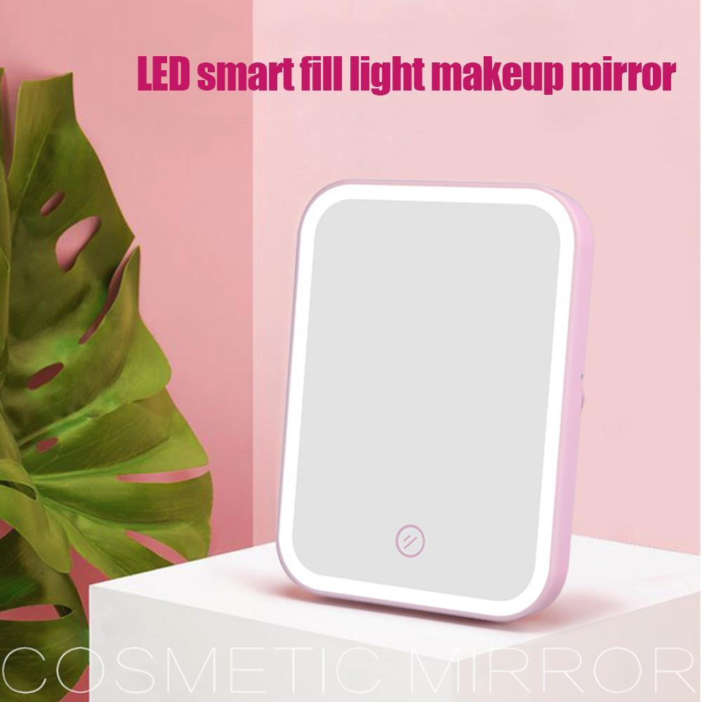 LED Lighted Portable Folding Magnifying Makeup Mirrors Table Mirror Mirror Lamp Adjustable Brightness Beauty Gifts