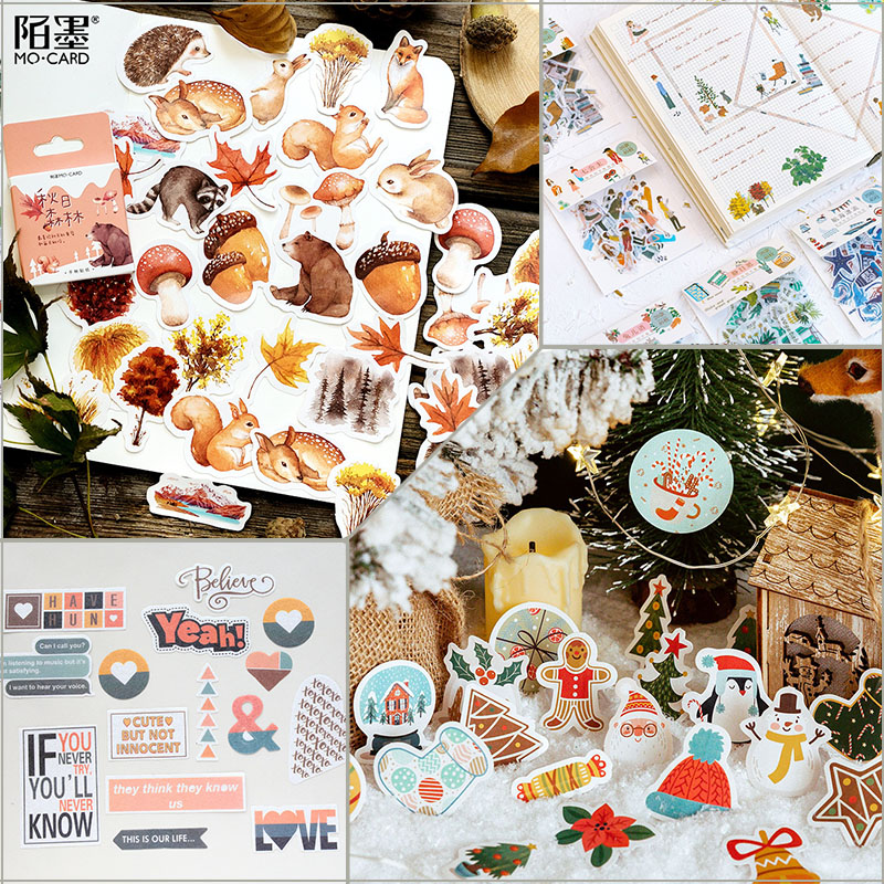 46Pcs Autumn Winter Stickers Scrapbooking Forest Animals Sticker Set DIY Decorate Bullet Journal Adhesive Paper Kawaii Supplies