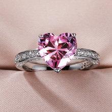 Huitan luxo solitaire feminino coração anéis de noivado aaa rosa zircônia cúbica proposta anéis para namorada presente de aniversário fino