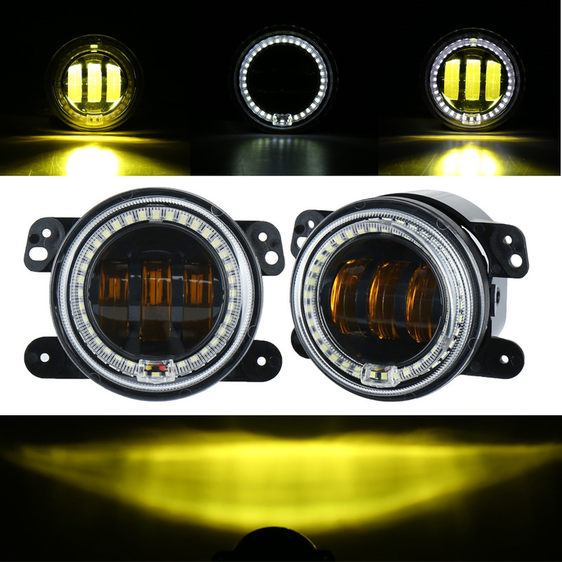 The Vectra 30 W Yellow Line With Day Light Gold Creation Circle Led Fog Lamp Jeep Wrangler 4 Inch Fog Lamps