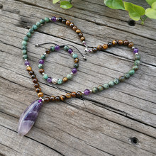 8mm Natural Stone Beads Necklace,Amethyst,African Turquoise,Protective,Graceful Sets,Spiritual Jewelry,Meditation,Inspirational,Sweet Romantic Necklace,Handmade Lotus Bracelet(China)