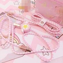 Аниме Card Captor Sakura звезда фигурка из PU искусственной кожи с принтом с героями мультфильмов USB зарядный кабель Луна мобильный телефон линии пер...