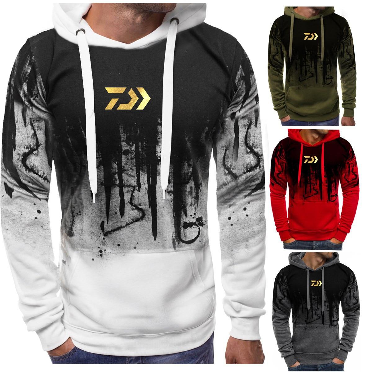 2020 DAIWA Fishing Hoodies Outdoor Sweatshirt With Cap Loose Fleece Warm Jacket Men Fishing Clothing With Hoodies Daiwa Clothes
