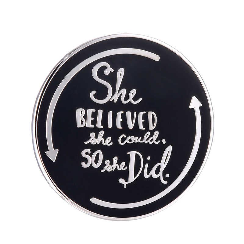 Она поверила Кнопка значок позитивный навевающий вдохновение аксессуар