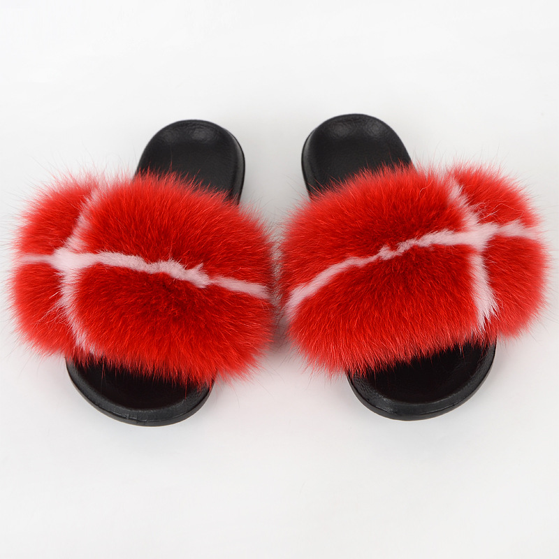 Fox Fur Slippers Women Fluffy Slides Outdoor Summer Furry Shoes Woman Luxury Ladies Sandals Plush Flip Flops Beach New Arrival