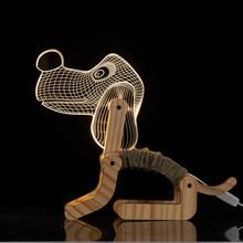 3D Illusion LED Wooden Base Dog Lamp Hande Made Foldable Acrylic Panel Lampshade Flexible Light for Desk Decor Birthday Gift