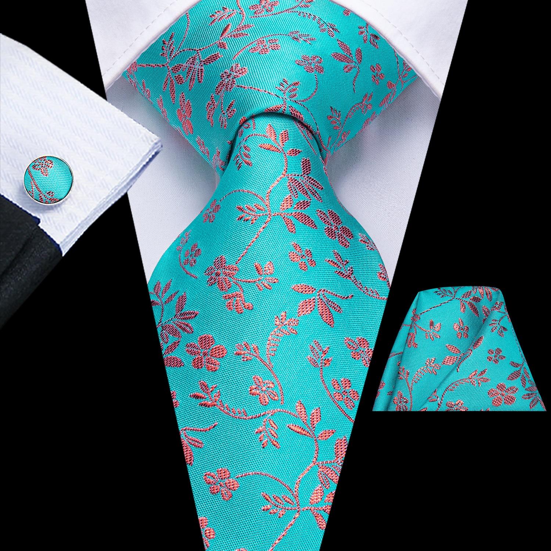 Hi-Tie 2020 Blue Floral Mens Tie 8.5cm 100% Silk Wedding Tie For Men Design Hanky Cufflink Quality Men Tie Set Dropshipping