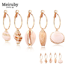 New 2pair Natural Shell Earrings 2019 for Women Classical Long Colorful Bohemia White Conch Girl Jewelry