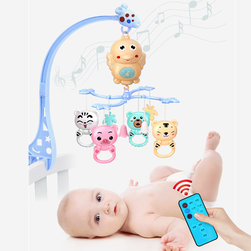 0-12 Months Newborn Baby Toys Baby Rattles Bracket Set Toddler Sensory Crib Mobiles Holder Rotating Musical Box Bed Infant Toys