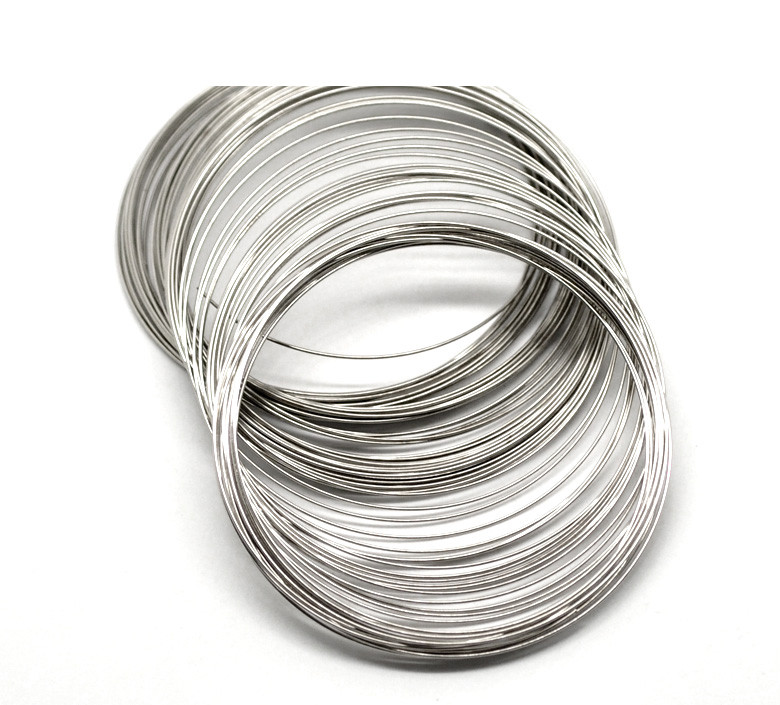 DoreenBeads Steel Wire Memory Beading Bracelets Components Round Silver Color 7cm-7.5cm Dia, 45 Loops 2015 New