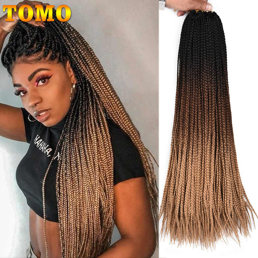 "TOMO Box Braids Crochet Hair Extensions 24"" Ombre Crochet Braids 22Roots Synthetic Colored Braiding Hair Extensions Pink Green"
