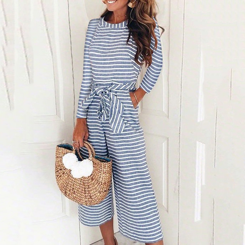Elegant Sexy Jumpsuits Women Long Sleeve Striped Jumpsuit Loose Trousers Wide Leg Pants Rompers Holiday Belted Leotard Overalls