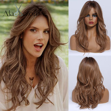 ALAN EATON Ombre Dark Brown Wigs with Side Bangs Heat Resistant Fibre Medium Wavy Synthetic Hair Wigs for Women African American emmor long dark brown ombre wavy synthetic hair wigs with bangs high temperature layered fluffy daily wig for women