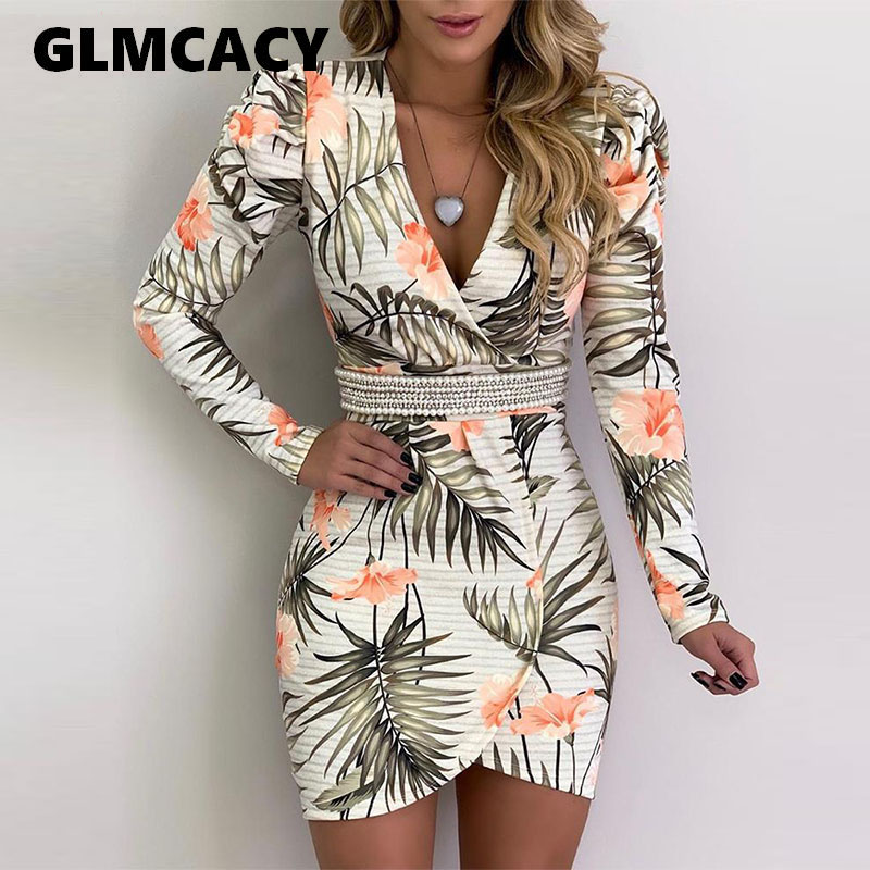Women Botanical Print Long Sleeve Irregular Dress Above Knee Mini Plunge V-neck Beading Sheath Street Wear Fashion Dress