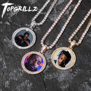 TOPGRILLZ Custom Made Photo Medallions Necklace & Pendant With 4mm Tennis Chain Gold Silver Cubic Zircon Men's Hip hop Jewelry gold pendant with topaz and cubic zirkonia