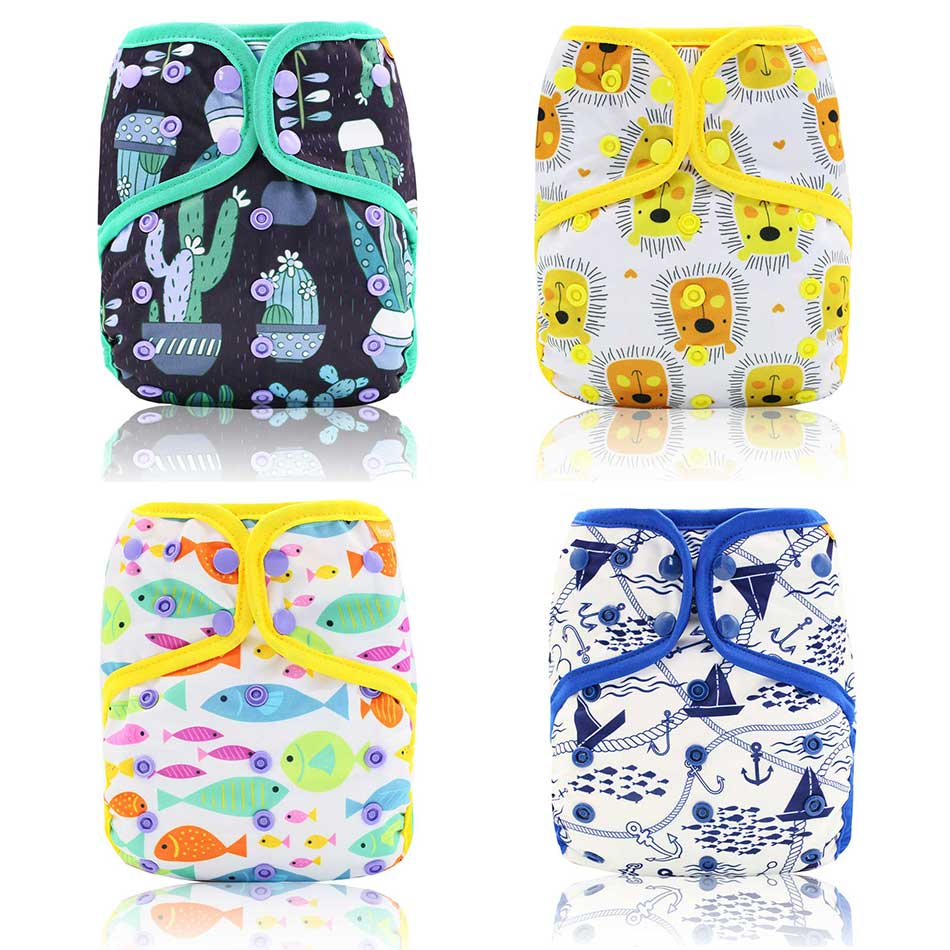 HappyFlute 1pcs Reusable Washable Baby Diaper AIO/AI2 Bamboo Cotton Nappy