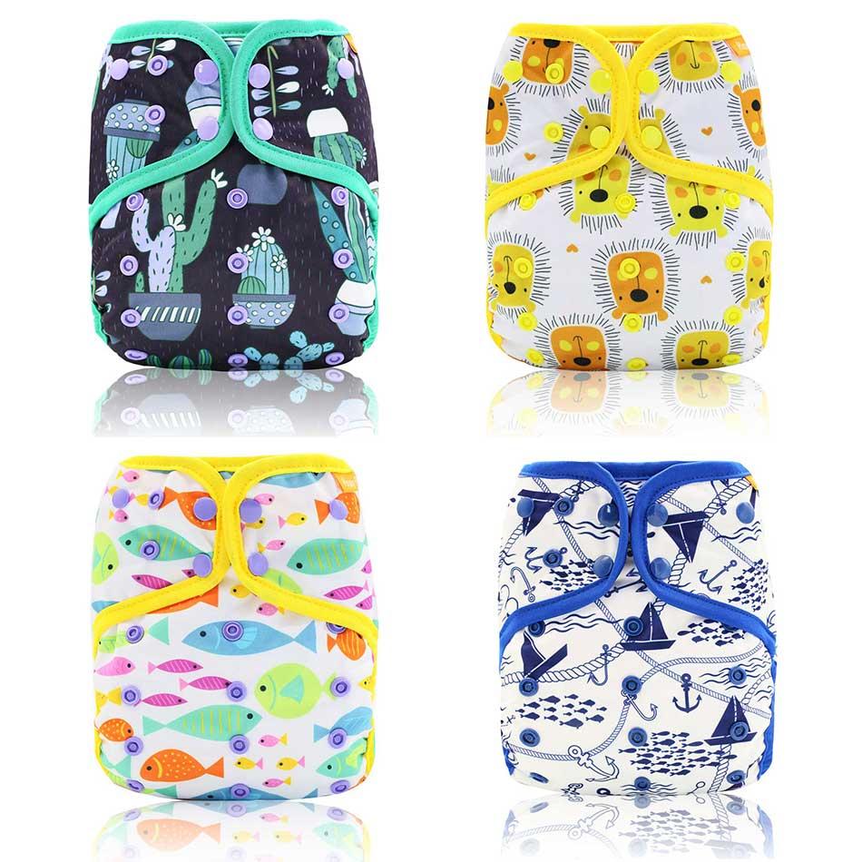 HappyFlute 1 шт Многоразовые моющиеся детские подгузники AIO/AI2 бамбуковый хлопковый подгузник