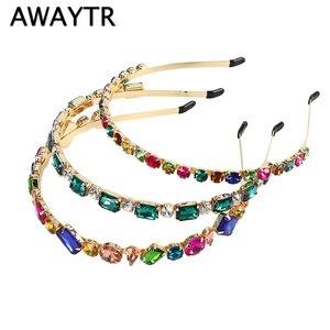 AWAYTR, модная женская кристальная повязка на голову, блестящая повязка на голову, повязка на голову для девушек, ювелирное изделие, женские Ст...