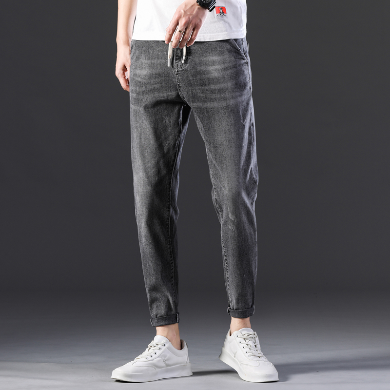 KSTUN Men's Jeans New Arrivals Spring and Summer Stretch Grey Haren Pants Leisure Joggers Pants Streetwear Drawstring Boys Jeans 12