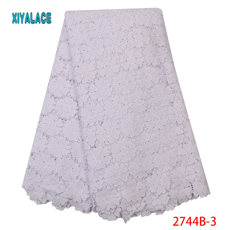 Nigerian Lace Fabric 2019 Hot Sale African Milk Cord Lace Fabric With Stones High Quality Wedding African Lace Fabric YA2744B-3