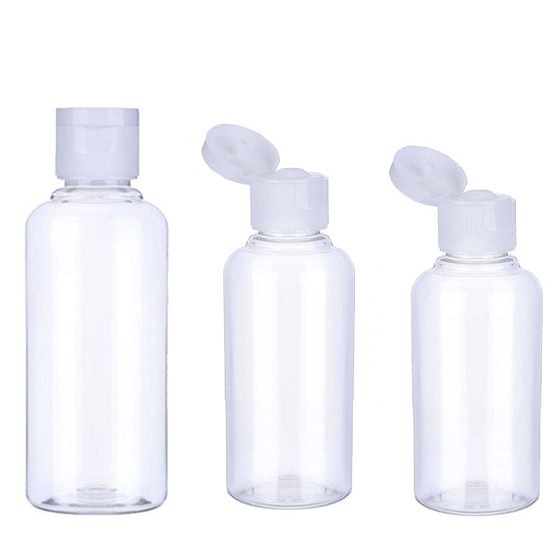 50Pcs 10 30 50 60 100 Ml Empty Transparent Plastic Pack Clamshell Water Bottle Crystal Clear Flip Top Cap Packaging Containers