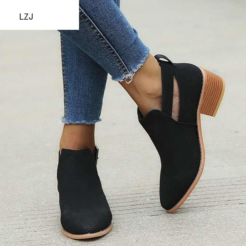 LZJ Womens Boots Fashion Casual Ladies Shoes Martins Boots Suede Leather Buckle Boots High Heeled Zipper Snow Shoes For Femme